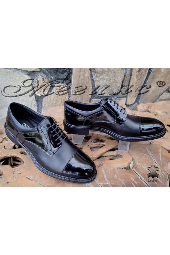 Мъжки обувки Fenomen 3002 черни кожа с лак от  естествена кожа елегантни