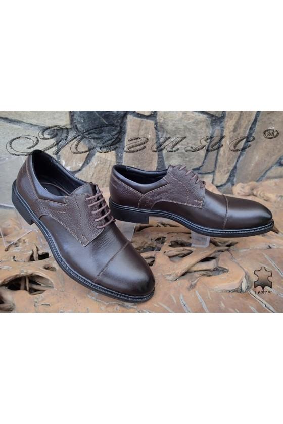 Мъжки обувки Fenomen 3002 тъмно кафяви от естествена кожа елегантни
