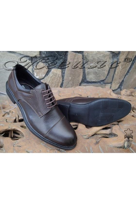 Men's elegant shoes  Fenomen 3002 dark brown leather