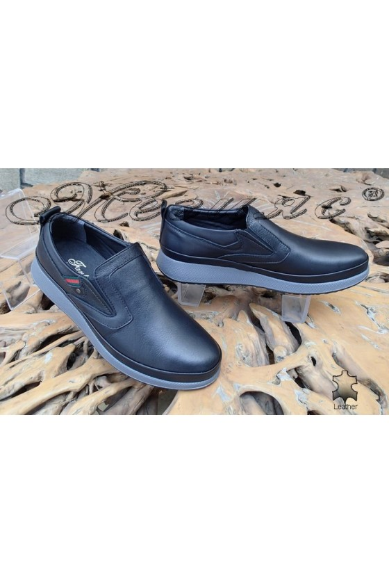Мъжки обувки Фантазия 141-80 черни от естествена кожа ежедневни