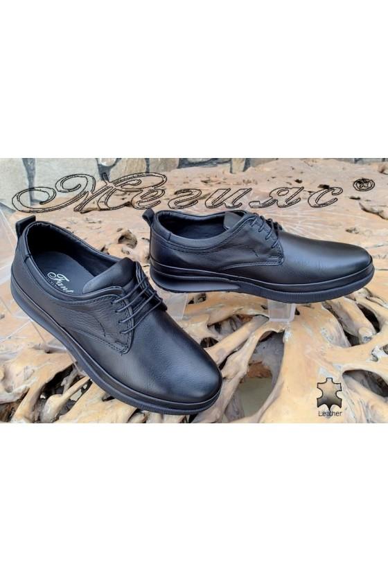 Мъжки обувки Фантазия 043-80 черни от естествена кожа ежедневни