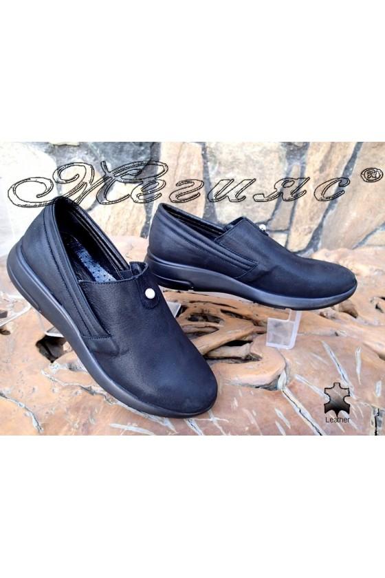Дамски обувки 513/20 чисто черни от естествена кожа
