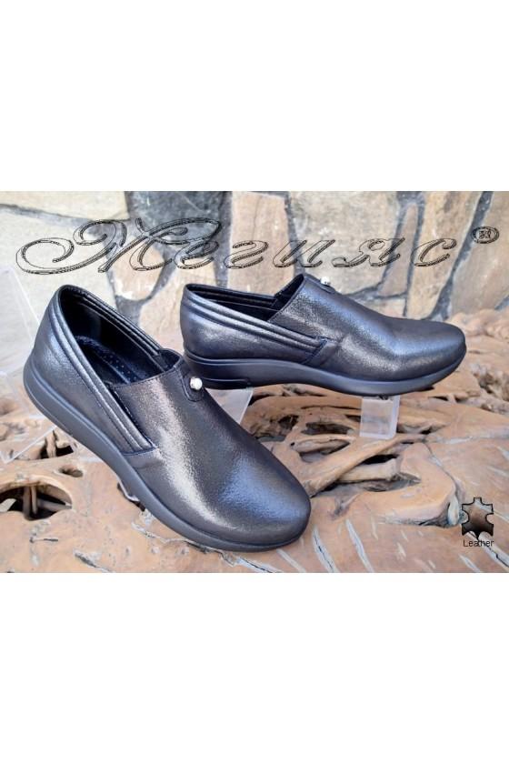 Дамски обувки 513/20 цвят стомана от естествена кожа