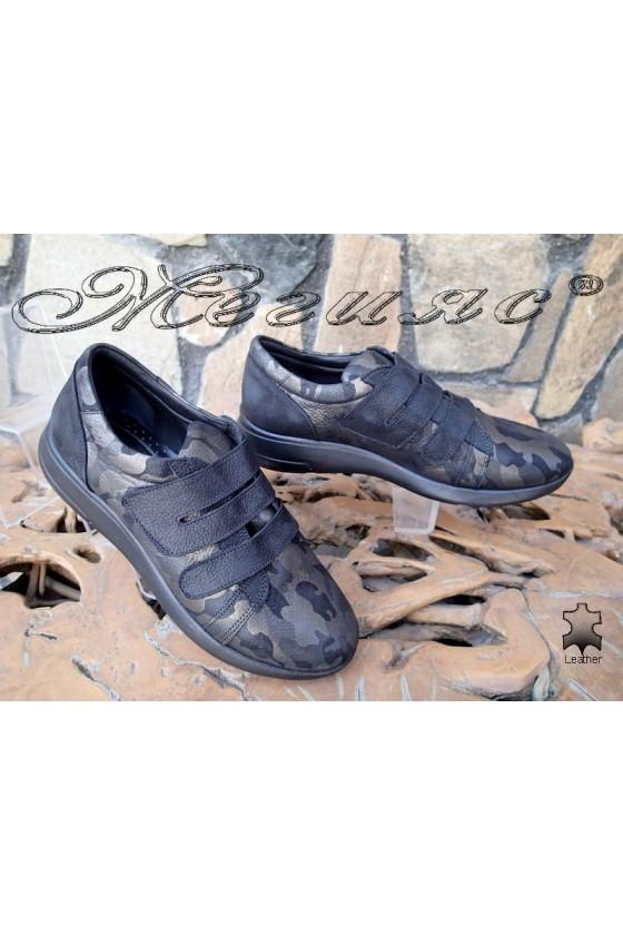 Дамски обувки 500/23 черно с кафяво  от естествена кожа