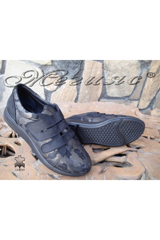 Lady sport shoes 500/23 black/brown leather