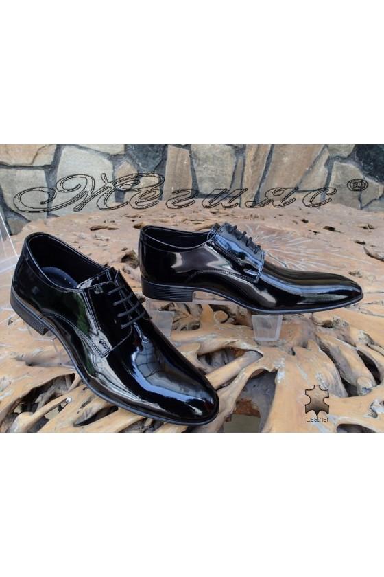Мъжки обувки Фантазия 18001 черни лак елегантни от естествена кожа