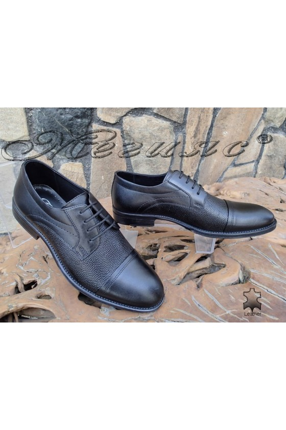 Мъжки обувки Фантазия 14100-208 черни елегантни от естествена кожа