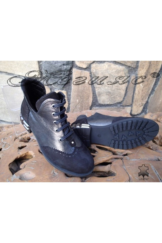 Women boots 07-66 dark silver leather