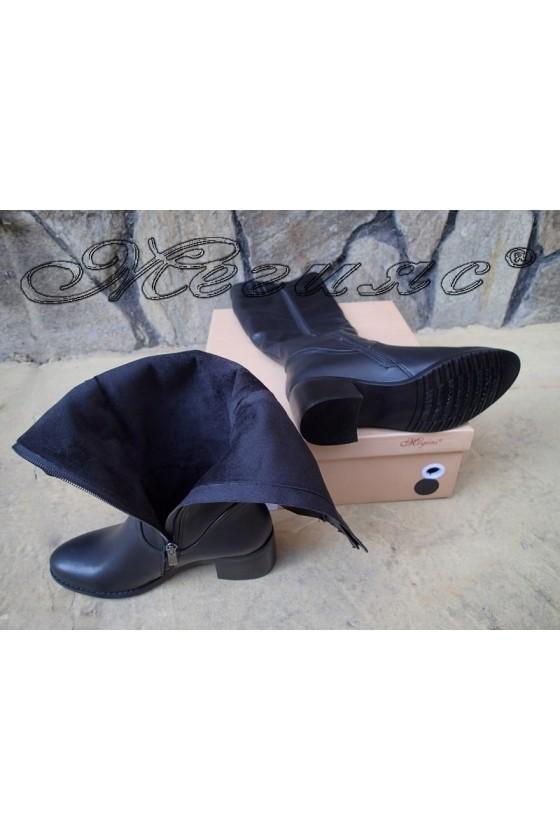 Дамски ботуши черни от еко кожа с широк ток Carol  20W18-2059
