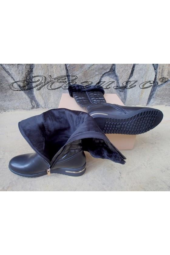 Дамски ботуши черни от еко кожа Carol 20W18-2055
