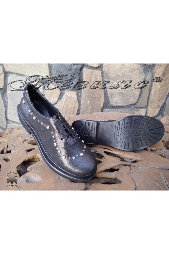 Women shoes 49-09 dark grey leather