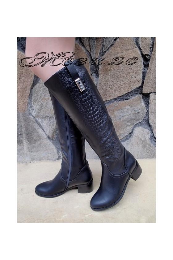 Дамски ботуши Carol  20W18-2059 черни от еко кожа с широк ток