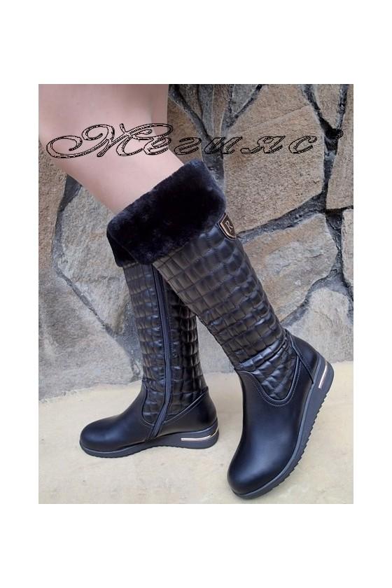 Дамски ботуши  черни от еко кожа