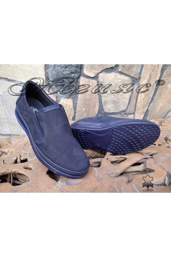 Men's shoes 042-21-81 blue suede