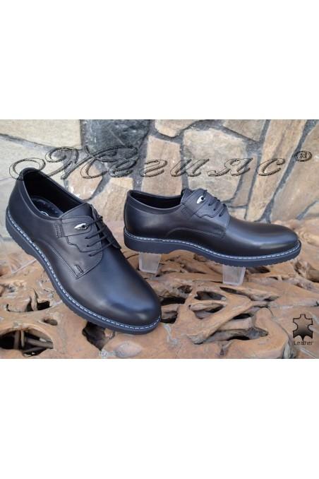 Men's elegant shoes 14503 black leather