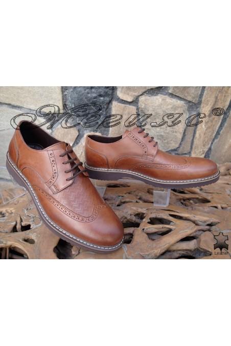Men's elegant shoes 14502-245 taba leather