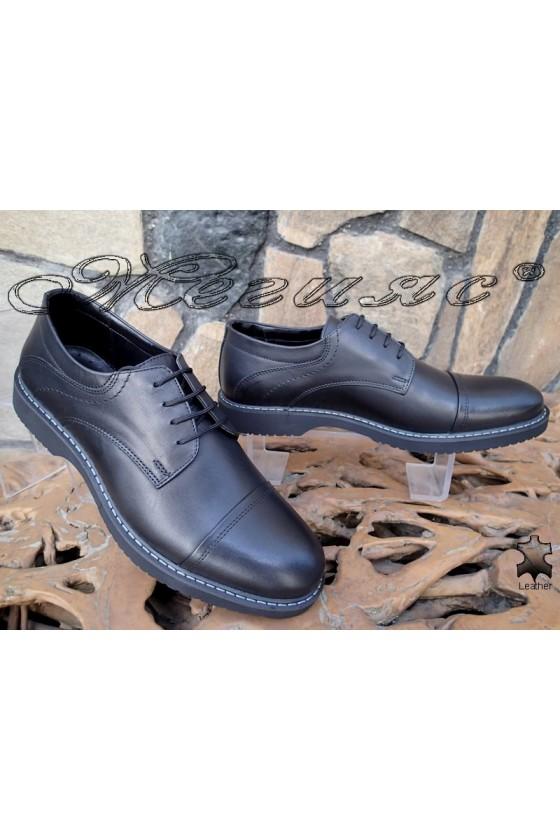 Men's elegant shoes 14507 black leather