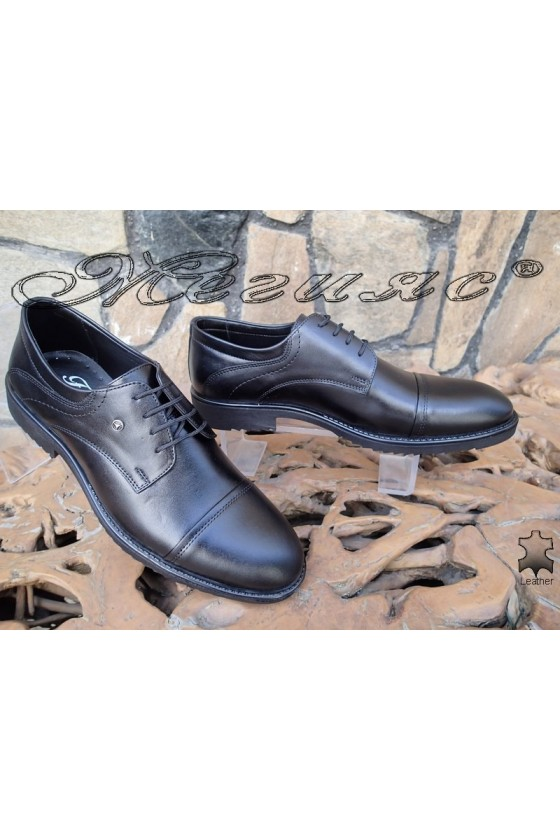 Men's elegant shoes 14303 black leather