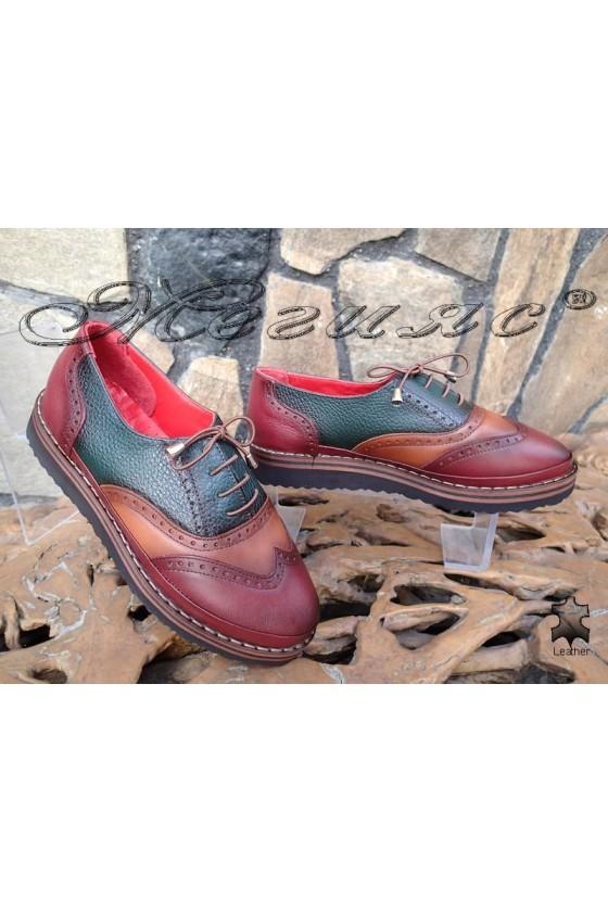 Дамски ортопедични обувки 10-К бордо/зелено/таба от естествена кожа