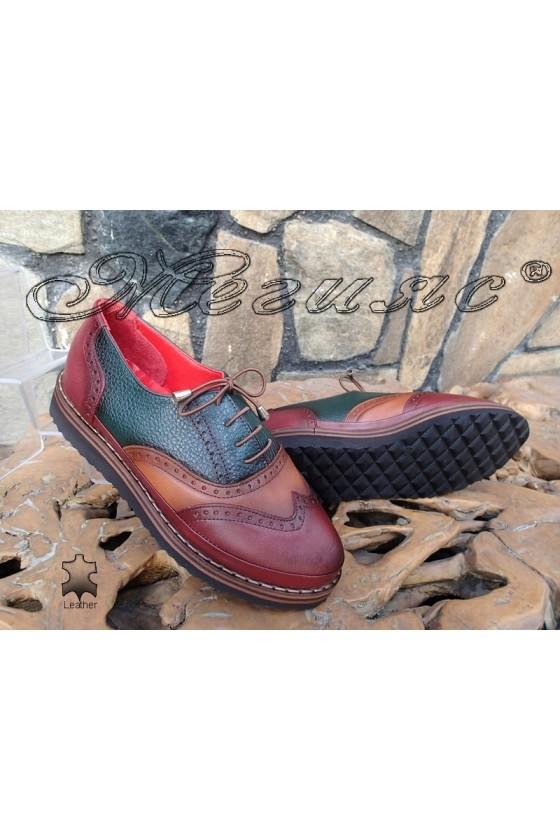Women shoes 10-K bordo/green/taba leather