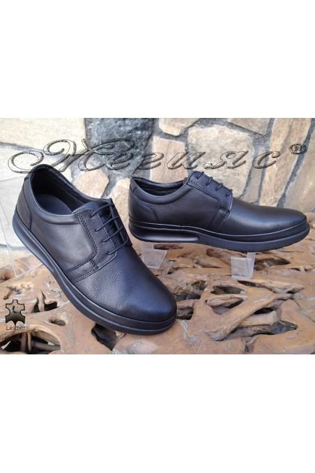 Мъжки обувки Фантазия 041-80 черни от естествена кожа ежедневни