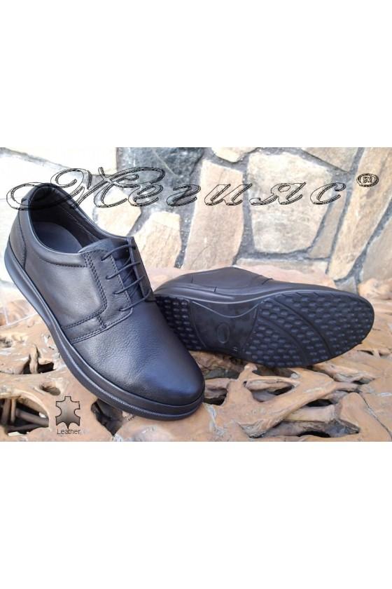 Men's shoes 041-80 black leather