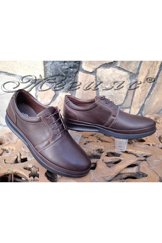 Мъжки обувки Фантазия 041-82 тъмно кафяви от естествена кожа ежедневни