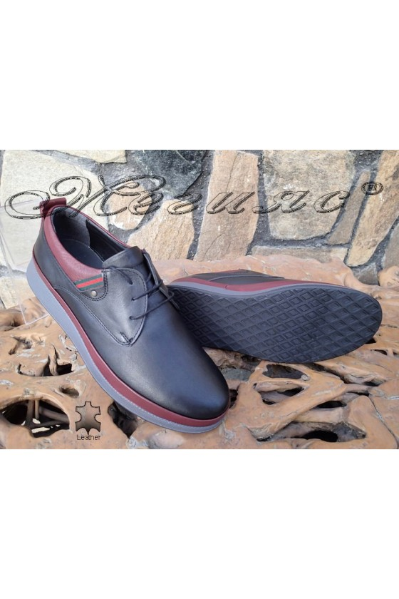 Men's shoes 140-80-83 black with wine leather