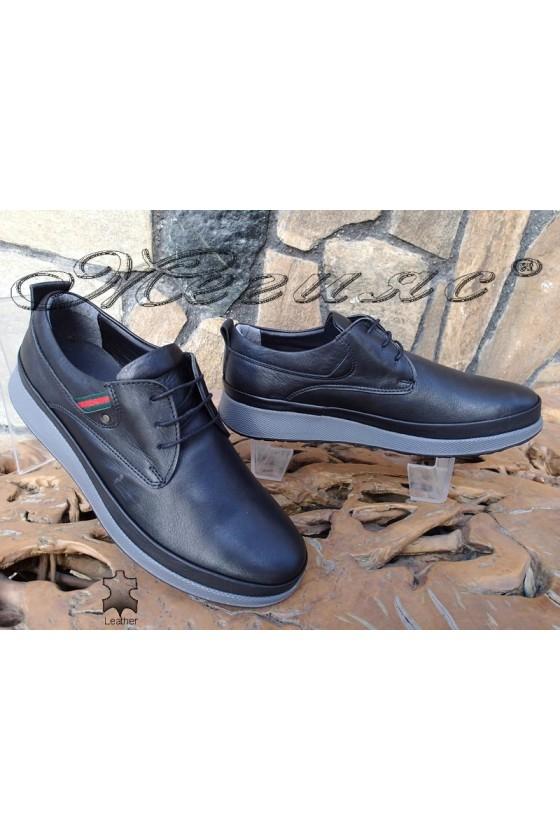 Мъжки обувки Фантазия 140-80 черни от естествена кожа ежедневни