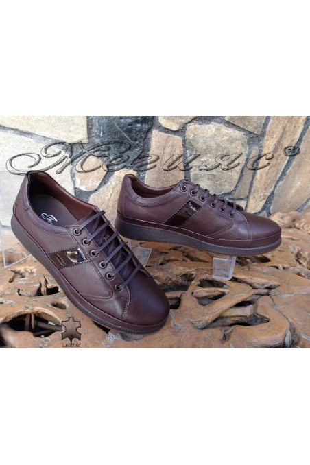 Мъжки обувки Фантазия 142-82 тъмно кафяви от естествена кожа ежедневни