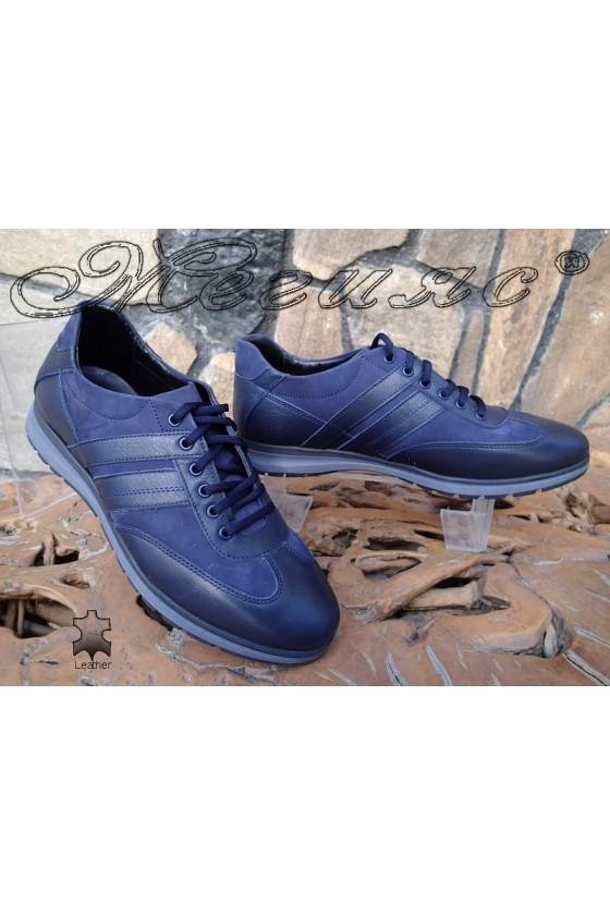 Мъжки обувки от естествен кожа и набук сини