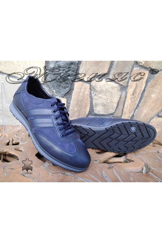 Мъжки обувки от естествен кожа и набук сини  Фантазия 14401-0-1