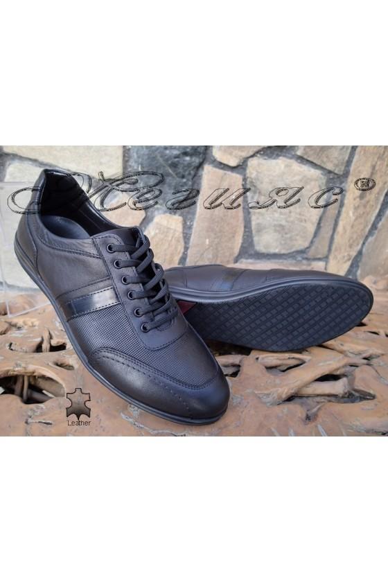 Мъжки обувки от естествена кожа черни Фантазия 17802-189