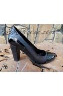 Дамски обувки 155-1-4 черни кожа с лак елегантни на широк ток
