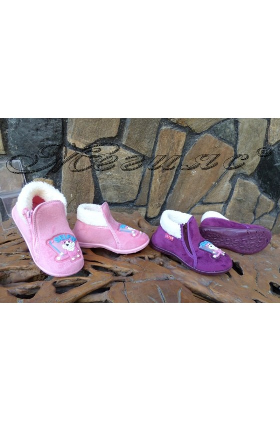 Children's slippers 02633 purple/pink
