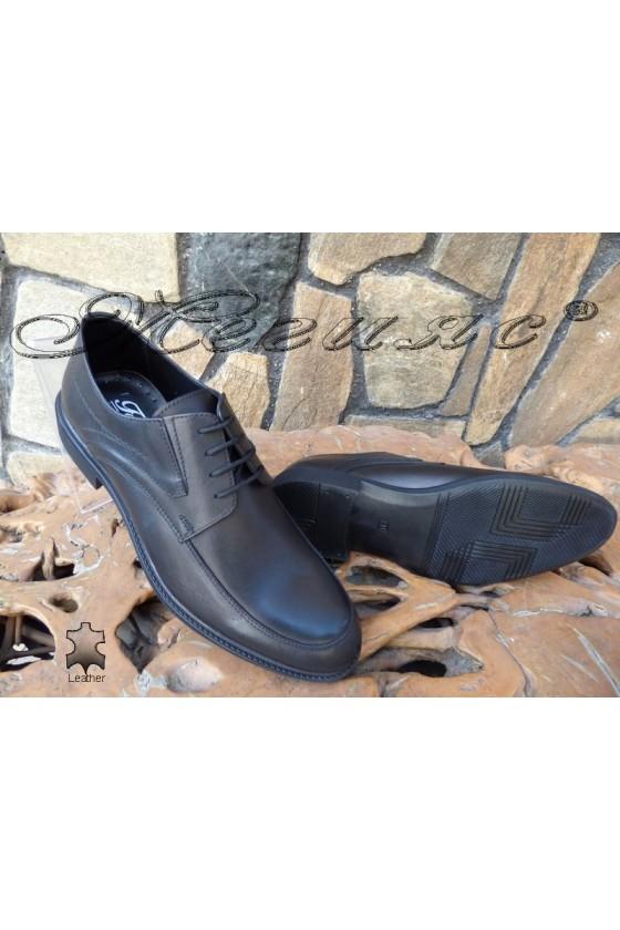 Men's elegant shoes 14007 black leather