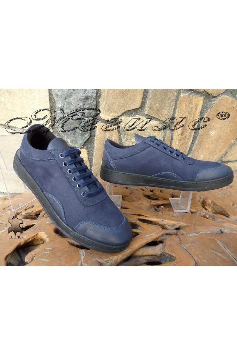Мъжки обувки DMT 203 сини от естествена кожа