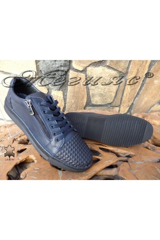 Men's sport shoes 809 blue leather