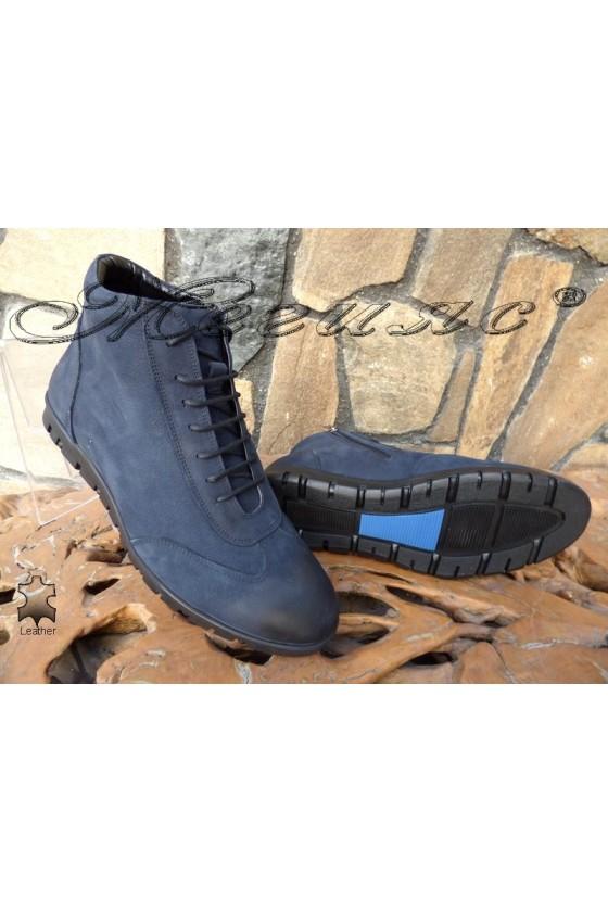 Men's shoes SHARP 307 blue leather