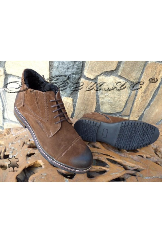 Men's boots  SHARP 1002 brown leather