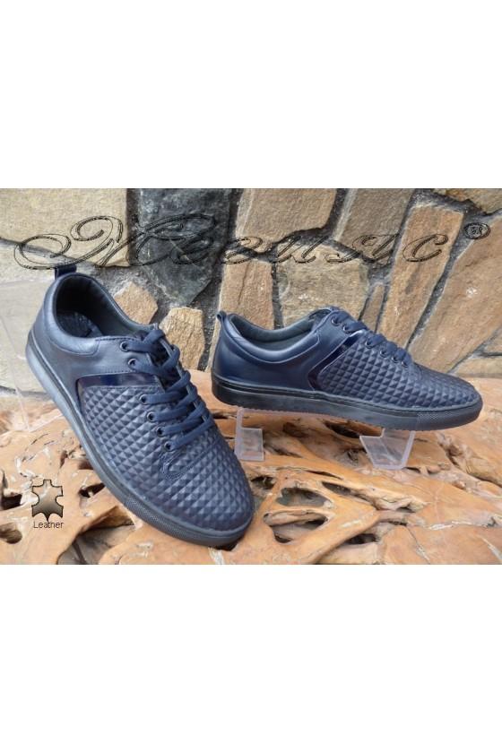 Мъжки обувки 801 сини от естествена кожа