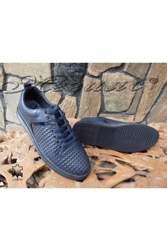 Men's sport shoes 801 blue leather