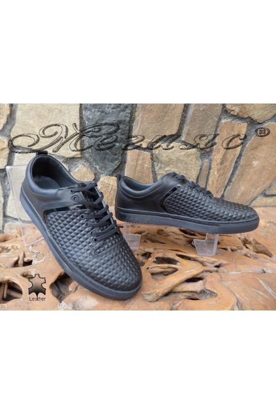 Мъжки обувки 801 черни от естествена кожа