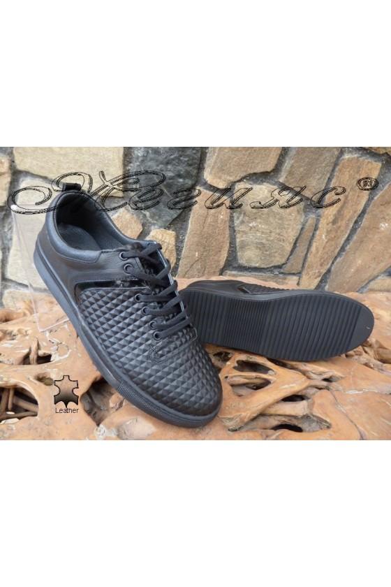 Men's sport shoes 801 black lether