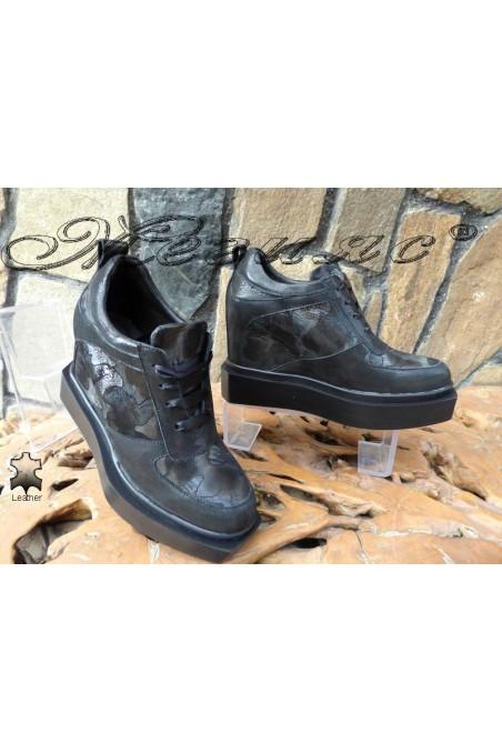Lady platform shoes 4120 black leather