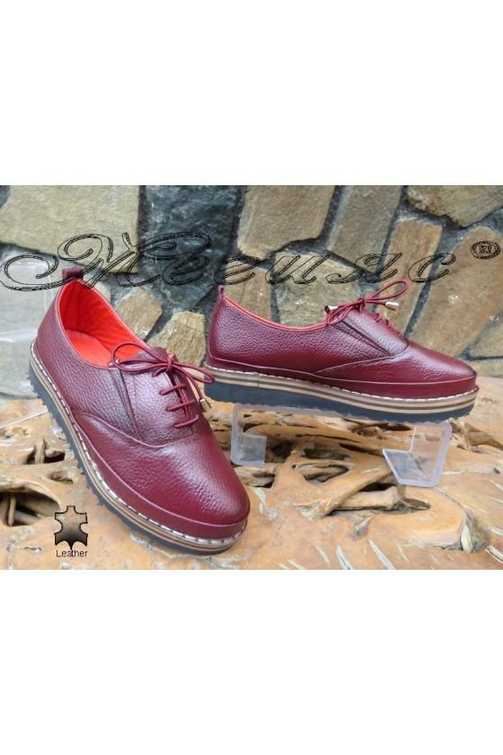Дамски обувки 1-К бордо от естествена кожа