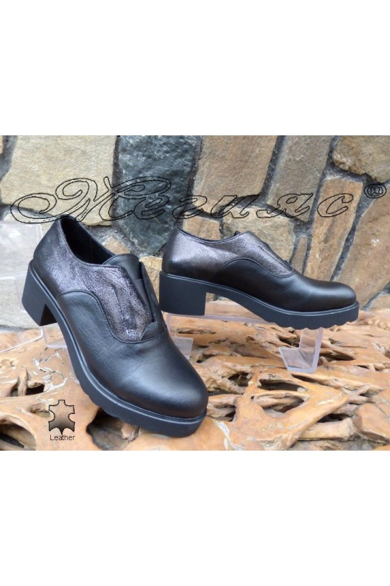 Lady shoes 402-41-31 black/grey leather