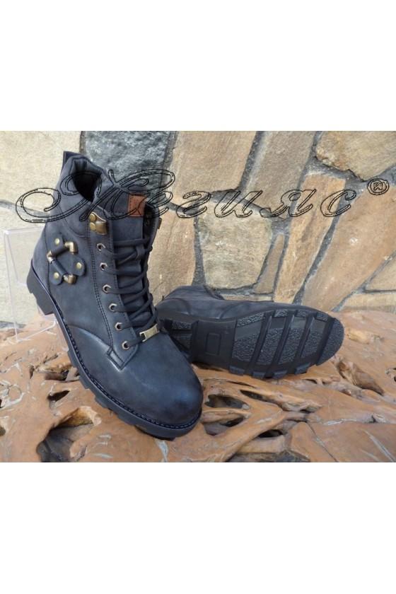Мъжки боти  черни от еко кожа Х-702