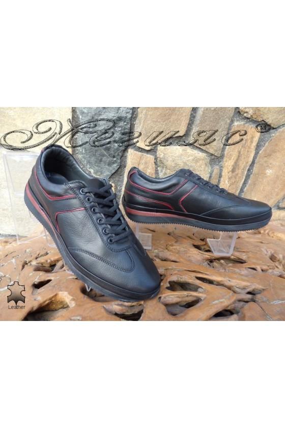 Мъжки спортни обувки 1791-11 черни с бордо от естествена кожа