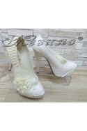 Дамски обувки А-301 бели с перли елегантни на висок ток